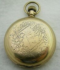ANTIQUE 6S WALTHAM GOLD FILLED HUNTER CASE POCKET WATCH PARTS REPAIR