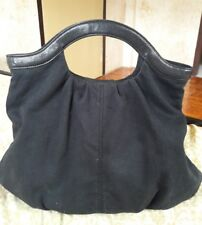 GAP Cotton Canvas Black Genuine Leather Hobo Bag