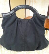 GAP Cotton Canvas Black Genuine Leather Hobo Bag