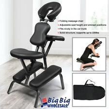 Portable Massage Chair Spa Salon Massage Tattoo Black PVC Leather FREE Carry Bag