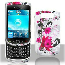 White Purple Flower Case Cover BlackBerry Torch 9800