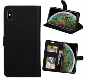 Case For iPhone SE 2, XR, XS, 7, 8  PU LEATHER FLIP WALLET TEMPERED GLASS Cover