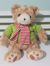 CHARLIE MYER CHRISTMAS TEDDY BEAR 2010 44CM BIG BEAR! GREEN SHIRT RED SCARF!