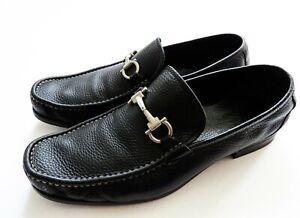 SALVATORE FERRAGAMO Gancini Black Grain Leather Shoes Size 12 US 46 Euro 11 UK