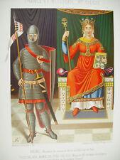 Reine et chevalier armé de pied en cap Belgique lith XIXe 1858 Hangard et Maugé