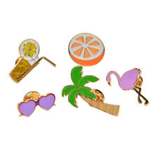 1 Set Shirt Brooch Collar Pin Necktie Clip Cute Enamel Lemon Orange Lapel Pin