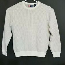 Chaps Men's Pullover Sweater Shirt Gray White Size L Cotton Pre Owned