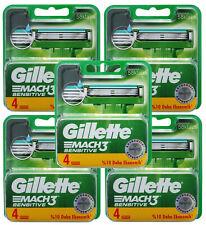 20 Gillette Mach 3 Sensitive Rasierklingen 5x 4er Pack = 20 Stück Klingen in OVP