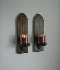 A pair of home made 14'' rustic Gothic wall sconces/candle holders