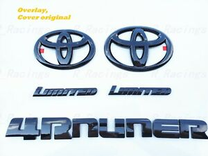 5PCS NEW For 2014-2020 TOYOTA 4RUNNER Gloss Black EMBLEM OVERLAY KIT OEM LIMITED