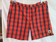 ROBINSON LES BAINS RED & BLACK PLAID SWIM TRUNK SHORTS MEN'S L QUICK SHIPPER