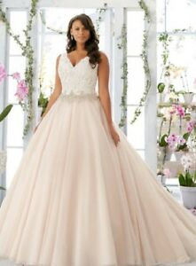 Lace ball gown wedding dress, Illusion Beaded waist, tailor made,Plus size