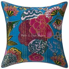 Indian Cotton Cushions Turquoise 16x16 Kantha Printed Tropicana Pillow Covers