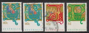 Australia Scott 1354-1356 Used 1993 Christmas Set of 4 Including Booklet Stamp