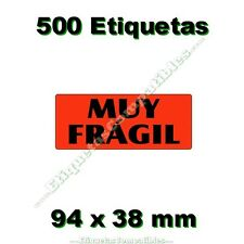 """1 Rollo de 500 Etiquetas Adhesivas """"Muy Frágil"""" de 94 x 38 mm Alta Calidad"""