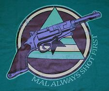 """Mal Always Shoots First"" Serenity Firefly Browncoat Large Shirt Teevillain"