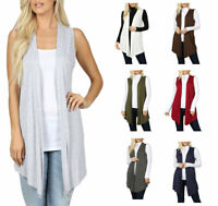 Womens Sleeveless Open Draped Cardigan Lightweight Knit Jersey Vest