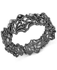 T TAHARI Midnight Lace Openwork Crystal Hematite-Tone Stretch Bangle Bracelet