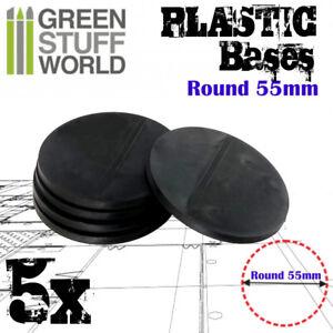5x Plastic Round Bases 55mm - Black Basing Wargames Miniatures Warhammer 40k