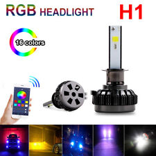 2PCS H1 Car Auto RGB LED Headlight Kit APP Bluetooth Control Fog Bulbs Lamp