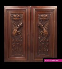 2 ANTIQUES 1890s FRENCH CARVED WALNUT WOOD PANELS CHIMERA ^^SALE TAX REFUNDED^^