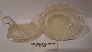 Boyd Crystal Art Glass - Vintage Chick Salt  #106 Shasta White - 3rd Generation