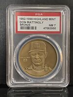 Don Mattingly HIGHLAND MINT Bronze Coin Yankees PSA 7 NM With Orig. COA + Case