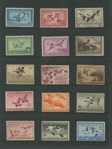 United States Federal Hunting Duck Stamps #RW1-RW45 Mint No Gum F/VF Set