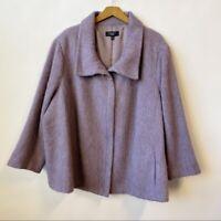 Talbots Wool/Alpaca/Mohair-Blend Fuzzy FullZip Coat Jacket Women's Plus Size 24W