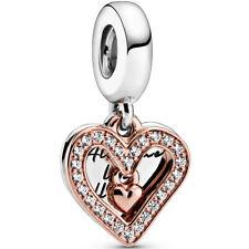 PANDORA ROSE Charm Dangle 788693 C01 Freehand Heart Herz Silver Bead