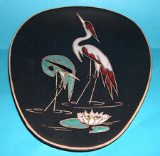 Vintage Art Pottery - Attractive Raised Design 'Wading Birds' Wall Plaque.