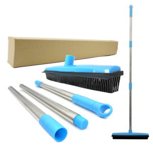Carpet Rake Long Handle Pet Dog Hair Rubber Broom Squeegee Fur Remover Cleaning
