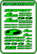 RC STICKERS MODEL CAR SERPENT RACING BRUSHLESS F1 1/10 DRIFT 1/8 BUGGY GREEN B