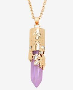 DISNEY Princess TANGLED Rapunzel Simulated Amethyst PENDANT Sun Crystal NECKLACE
