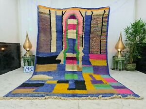 "Moroccan Boujaad Handmade Rug 6'5""x10' Berber Abstract Blue Pink Wool Carpet"