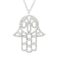 14K White Gold Diamond Hamsa Hand Necklace, hand hamsa diamond Pendant 14k gold