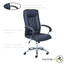 Chaise de bureau fauteuil élégant noir chrome réglable en hauteur avec finiti...