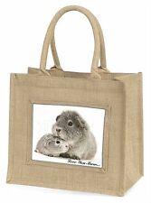 Silver Guinea Pigs 'Love You Mum' Large Natural Jute Shopping Bag C, GIN-3lymBLN