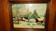 """Antique Original Oil Painting """"WINTER FAIRY TALE VILLAGE""""? Signed.Framed"""