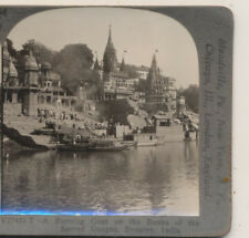 Burning Ghat  Banks of the Sacred Ganges Benares India Keystone Stereoview c1910
