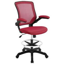 Modway Veer Drafting Chair In Red - Reception Desk Chair - Tall Office Chair For