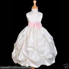 IVORY BUBBLE PICK-UP WEDDING FORMAL KID FLOWER GIRL DRESS 12-18M 2/3T 4/5 6 8 10