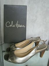 COLE HAAN AIR ELIANA SLINGBACK LEATHER HEELS- SILVER, SIZE 9.5