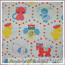 BonEful FABRIC FQ Cotton Quilt VTG Retro Antique Baby Animal L Bird Cat OWL Lion