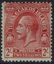 TURKS & CAICOS 1922 KGV CACTUS 2/- WMK MULTI CROWN CA