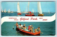 Vintage Postcard Greetings From Gilford Park New Jersey NJ Sailboats