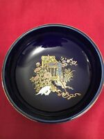 Vtg Japanese Cobalt Blue Bowl with Gold painting, Flowers