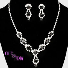CLEARANCE CLASSIC BLACK & CLEAR CRYSTAL FORMAL NECKLACE JEWELRY SET