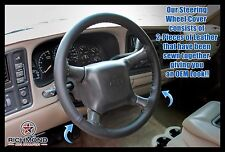 2001 2002 Chevy Silverado 3500 LT LS -Leather Wrap Steering Wheel Cover, Black