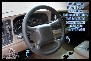 2000-2002 Chevy Tahoe Suburban 1500 2500 -Leather Steering Wheel Cover, Black